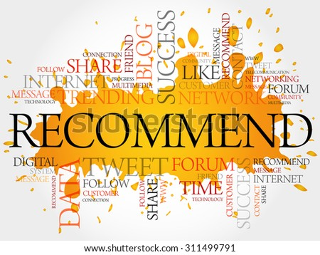 Recommend word cloud, business concept - stock vector