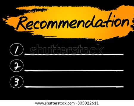 Recommendation Blank List, vector concept background - stock vector