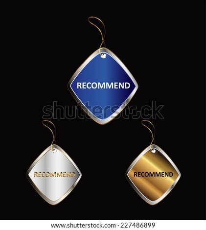 Recommended button - stock vector