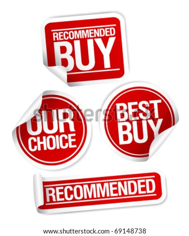 Recommended buy, our choice stickers set. - stock vector
