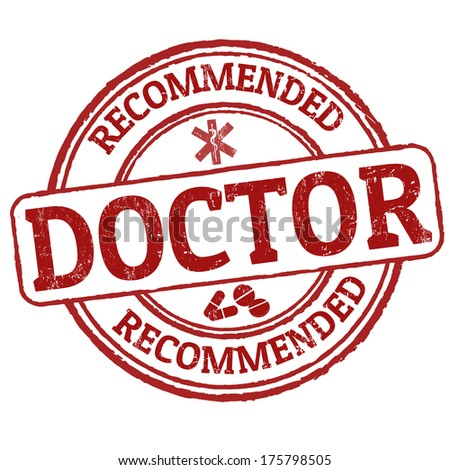 Recommended Doctor grunge rubber stamp on white, vector illustration - stock vector