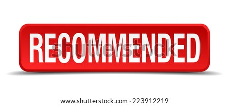 recommended red 3d square button isolated on white - stock vector