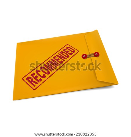 recommended stamp on manila envelope isolated on white - stock vector