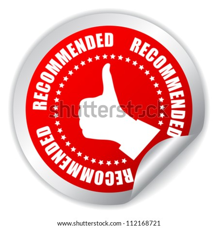 Recommended thumb up sticker, vector illustration - stock vector