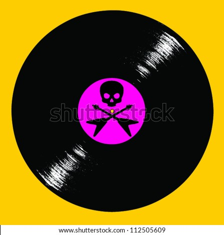 Record Album with Skull and Crossed Flying V Guitars on Yellow Background - stock vector