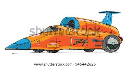 record car - cartoon - stock vector