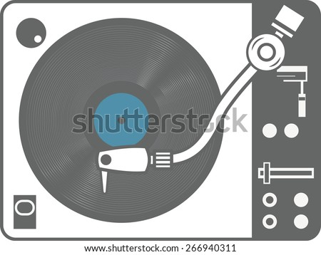 Record player vinyl record isolated on white background - stock vector