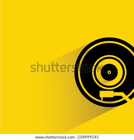 record player, vinyl record player on yellow background, flat and shadow theme design - stock vector