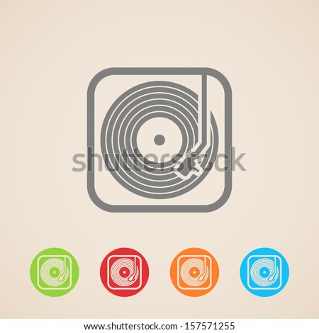 record player with vinyl record. vector icons  - stock vector
