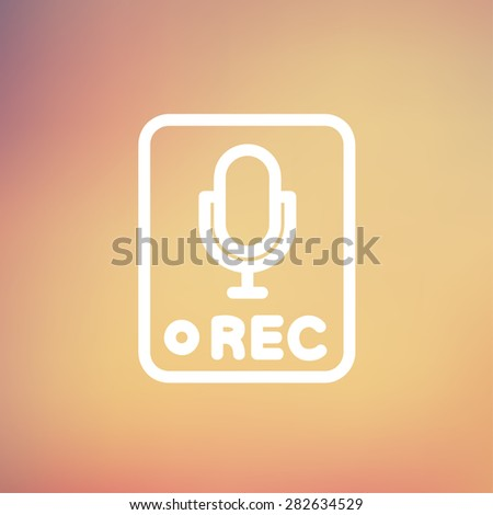 Recording station sign icon thin line for web and mobile, modern minimalistic flat design. Vector white icon on gradient mesh background. - stock vector