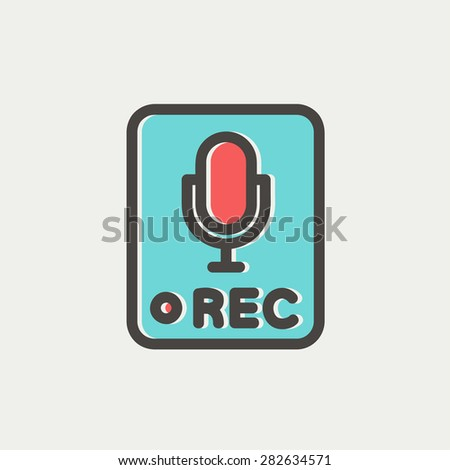 Recording station sign icon thin line for web and mobile, modern minimalistic flat design. Vector icon with dark grey outline and offset colour on light grey background. - stock vector