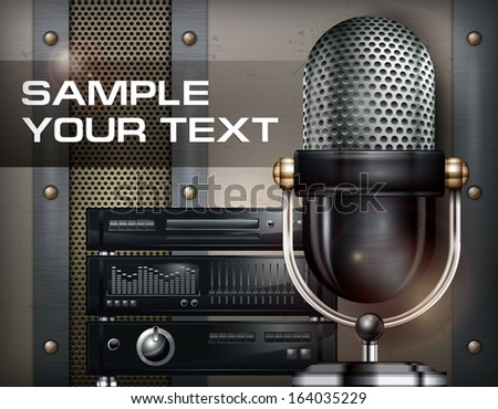 Recording studio and microphone on metallic background, vector illustration - stock vector