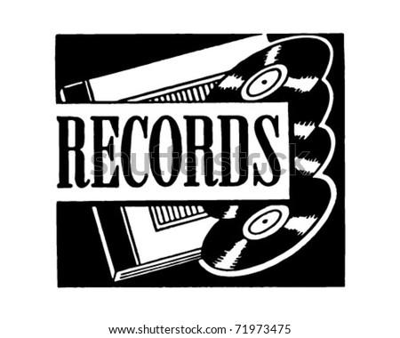 Records - Retro Ad Art Banner - stock vector
