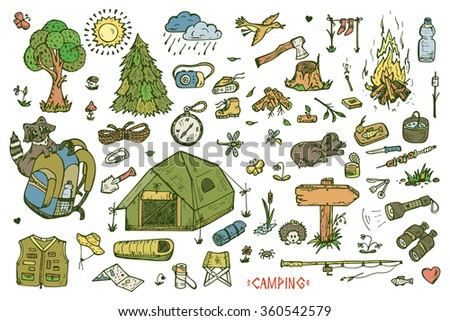 Recreation. Tourism and camping set. Hand drawn doodle Camping Elements - vector illustration - stock vector