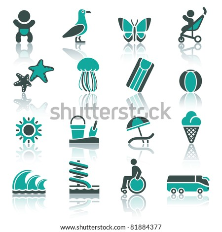 Recreation, Vacation & Travel. icons set. Tourism, Sport with reflection. - stock vector
