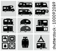 Recreation Vehicle Icons set. - stock vector