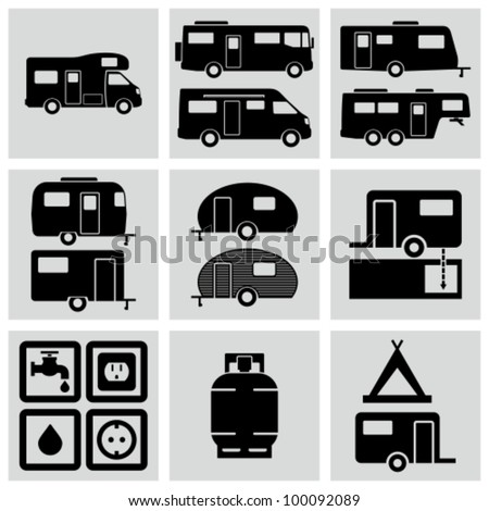 Recreation Vehicle Icons set. - stock vector