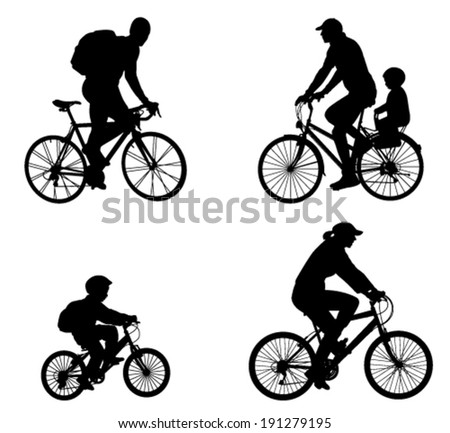 recreational bicyclists silhouettes - stock vector