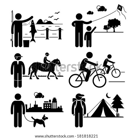 Recreational Outdoor Leisure Activities - Fishing, Kite, Horse Riding, Cycling, Dog Walking, Camping - Stick Figure Pictogram Icon Clipart - stock vector