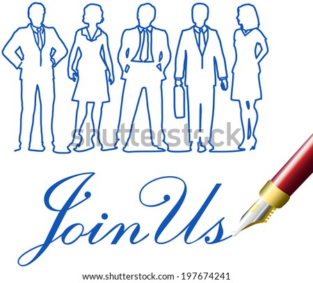 Recruiting invitation drawing to join company business team - stock vector