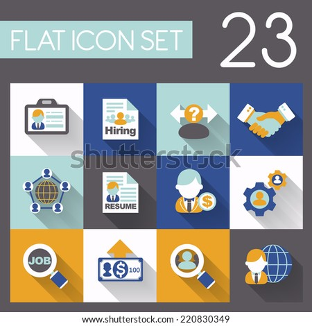 recruitment and job icon set in flat design - stock vector