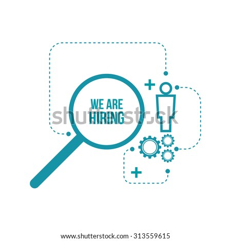 Recruitment. Concept search  better candidate for open position. We are hiring, hr. - stock vector
