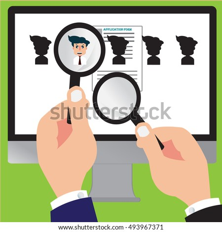 Recruitment hand zoom with magnifying glass for picking business person candidate people - Vector concept of searching for professional stuff - EPS 10
