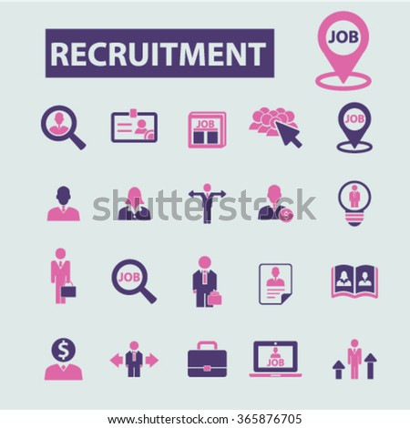 recruitment, headhunter, Job  icons, signs vector concept set for infographics, mobile, website, application  - stock vector