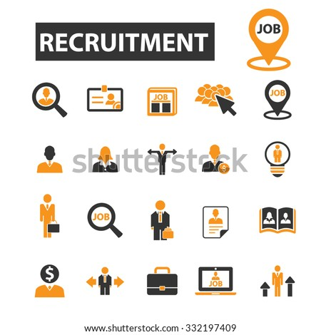 recruitment, job, search, employee icon & sign concept vector set for infographics, website - stock vector