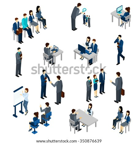Recruitment process set with isometric business people employees isolated vector illustration - stock vector