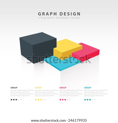 Rectangle and cube infographic template 4 color - stock vector