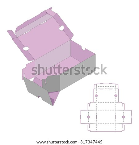 Rectangle Box Design,Container die-stamping, Folding Folded Packaging, Ready Pack, No Glue Needed - stock vector
