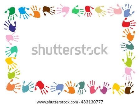 Rectangle Frame Made Colorful Handprints Stock Vector (Royalty Free ...