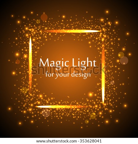 rectangle frame orange magic light with bokeh vector