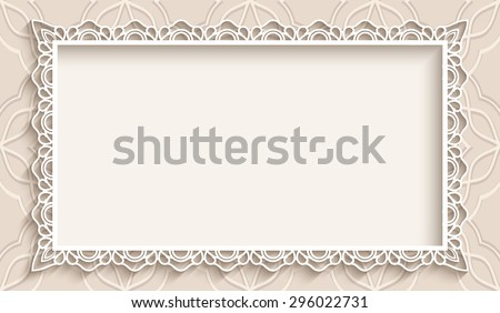 Rectangle frame with paper lace border ornament, vintage vector background, greeting card or wedding invitation template, eps10 - stock vector