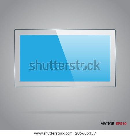 Rectangle glass panel with blue inside. - stock vector