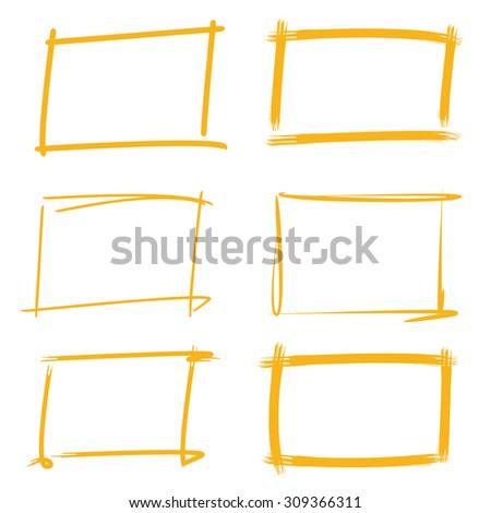rectangle marker frames, borders - stock vector