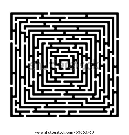 rectangle maze isolated on white, vector illustration - stock vector