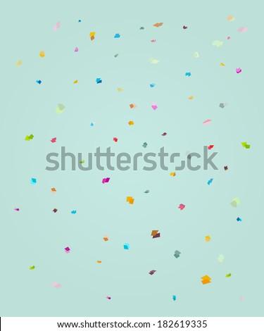 rectangle polka background, confetti explosion - stock vector