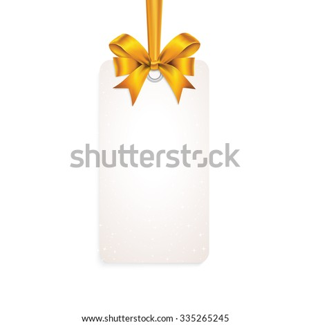 Rectangle white card with gold tied bow on ribbon. - stock vector