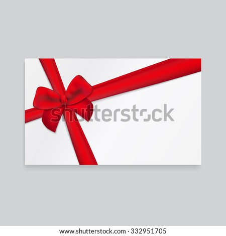 Rectangle white paper card with thick red ribbon and tied bow. - stock vector