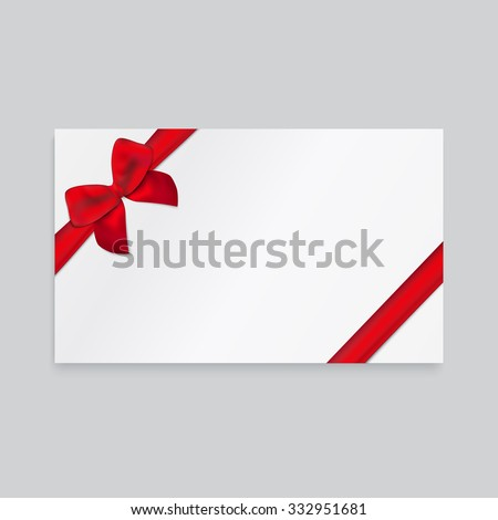 Rectangle white paper card with thin red ribbon and tied bow. - stock vector