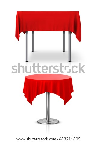 Rectangular And Round Table With A Red Tablecloth On A White Background
