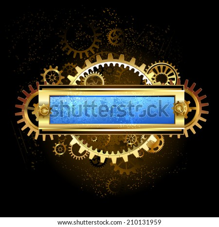 Rectangular banner with gears and scratched blue glass on a dark brown background. - stock vector