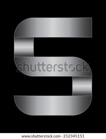 rectangular bent metal font - number 5 - stock vector