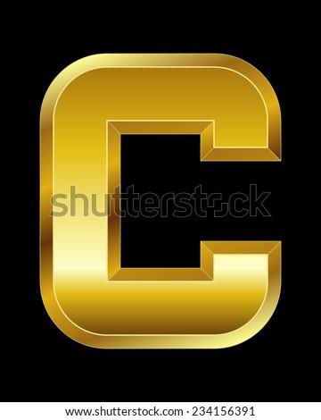 rectangular beveled golden font - letter C - stock vector