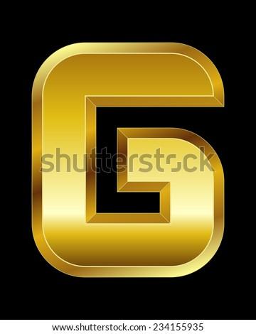 rectangular beveled golden font - letter G - stock vector