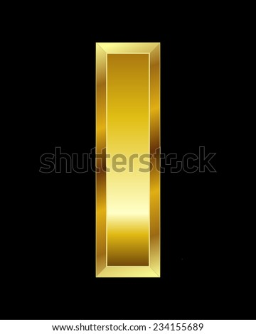 rectangular beveled golden font - letter I