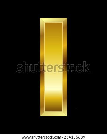 rectangular beveled golden font - letter I - stock vector