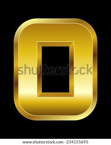 rectangular beveled golden font - letter O - stock vector